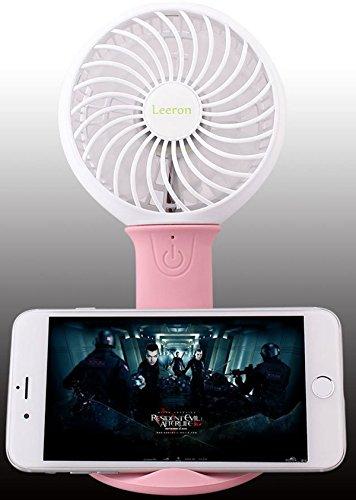 Preisvergleich Produktbild USB Nachladbarer tragbarer Handventilator Tischventilator mit Handy-Halter und Beleuchtung (Pink)