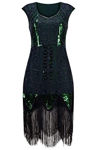 Kostüm Fringe Flapper - ZDSYYK 1920er Jahre Flapper Kleid Frauen Vintage Pailletten Fringe Perlen Art-Deco-Kostüm mit Ärmel für Party Prom (Style7,L)