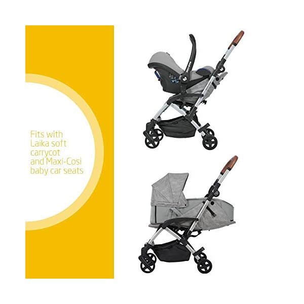 Maxi Cosi Laika 2 Baby Pushchair, Ultra Compact and Lightweight Stroller from Birth, Easy Fold, 0 Months-3.5 Years, 0-15 kg, Nomad Grey Maxi-Cosi Urban stroller, suitable from birth to 15 kg (birth to 3.5 years) Remove the seat and transform into a pram by attaching our Laika Soft Carrycot or add any Maxi-Cosi baby car seat for a full from-birth mobility solution (sold separately) One-hand fold to easily fold stroller using only one hand 2
