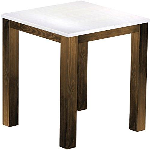 Brasil Meubles Haut 'Rio Classico' Table 120 x 120 cm, Pin Massif, Teinte Snow – Chêne Antique