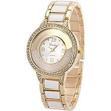 3a3a98bcf7c5 Reloj de Pulsera para Mujer de Acero Inoxidable Dorado con Cristales  SIBOSUN de Cuarzo y Pulsera