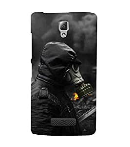 For Lenovo A2010 man in mask ( man in mask, man, fire, smoke ) Printed Designer Back Case Cover By FashionCops