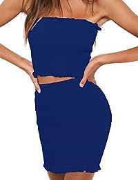 Vestito Due Pezzi Donna Elegante Crop Top e Gonna a Pieghe Vita Alta Skinny Mini  Abito Estivo Ragazza… 89c9b3d74c4