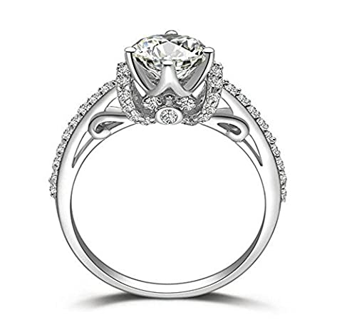 SCALOP6 Solid 925 Silver Top Quality 1 Carat Designer Art Decor Simulated Diamond Ring Hearts Arrows Cut