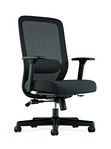 Hon Basyx hvl721Mesh Aufgabe Stuhl mit 2-Wege-Arme für Büro oder Computer-Schreibtisch, schwarz Stoff Modern Black Fabric -