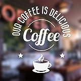 Köstliche Coffee Shop Aufkleber Fenster Kaffee Zeichen Vinyl Aufkleber, Cafe Bar Ladentür Fenster Tapete wasserdicht Dekor 2 57x65 cm
