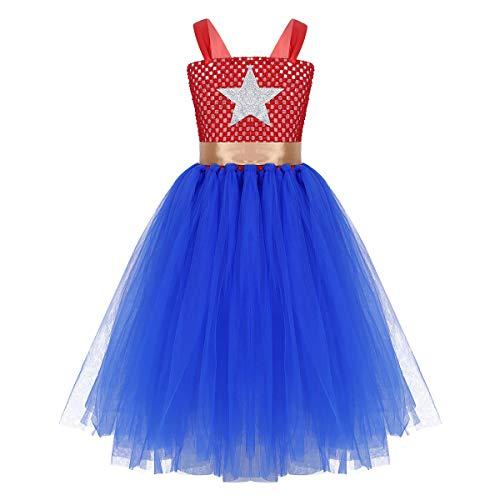 inlzdz Mädchen Prinzessin Kostüm Festlich Tutu Kleid mit Glänzend Sterne Muster Halloween Partykleid Cosplay Faschingskostüme Gr. 98-152 Blau&Rot 140-152 (Mädchen Superhelden Kostüm Mit Tutus)