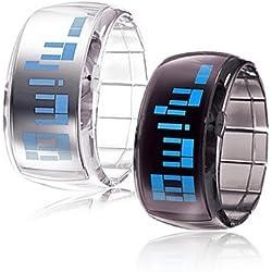 Pair of Futuristic Blue LED Wrist Watch - Black & White