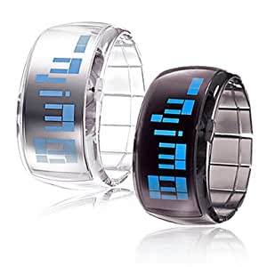 RayShop - Couple's Futuristic Blue LED Digital Wrist Watches (Black & White, 1-Pair)