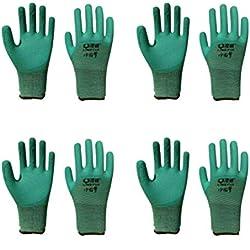 buluship 4 Paires Gants de Travail Jardin Grip pour Builders Jardinage Vert Hommes et Femmes Convient pour Les Tailles 7 à 11