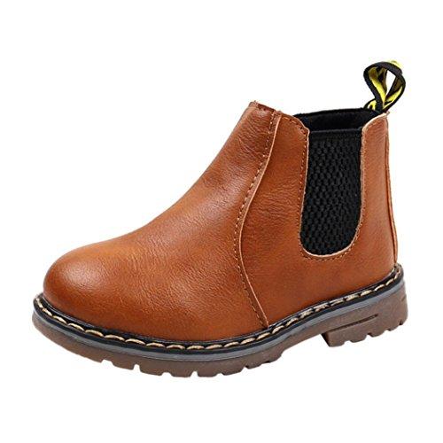 FEITONG Kinder Schuhe, Jungen Mädchen Martin Stiefel Casual Sneaker Outdoor Schuhe (26, Braun) (Cowboy-stiefel Für Kinder)