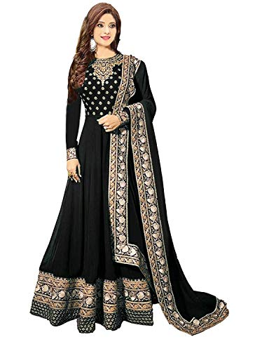 Ruri Enterprise Black Semi Stitched Embroidered Heavy Work Anarkali Suits for Women for Party Wedding Wear Anarkali Suits/Salwar Suits (Bleck)