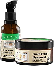 SHIZEN Green Tea & Hyaluronic Facial Serum (30ml ) And Green Tea & Hyaluronic Day Cream (50gm)/100%