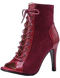 Coolulu Mujer Botines de Verano Tacón Alto y Fino con Punta Abierta con Cordones Zapatos Elegante