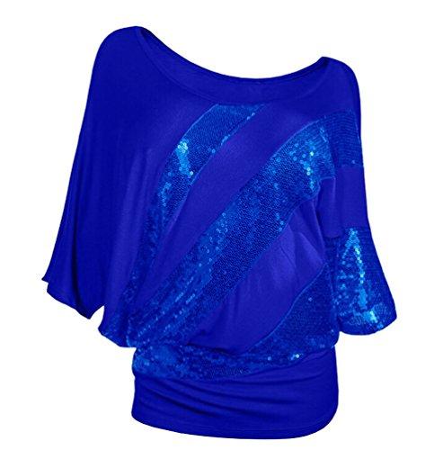 Ghope Damen Blusen Tops Oberteil mit Glitzer Pailletten Kurzarm TShirt 3/4Arm  Fledermaus Einfarbig Rundkragen Shirt Blau 3