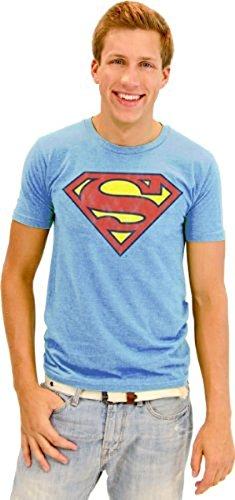 Junk Food Superman Original Logo Erwachsene Light blau T-Shirt (XX-Large) (Junk Food-superman)