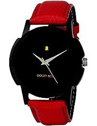 Golden Bell Original Analogue Black Dial Red Strap Wrist Watch For Men - GB-407BlkD