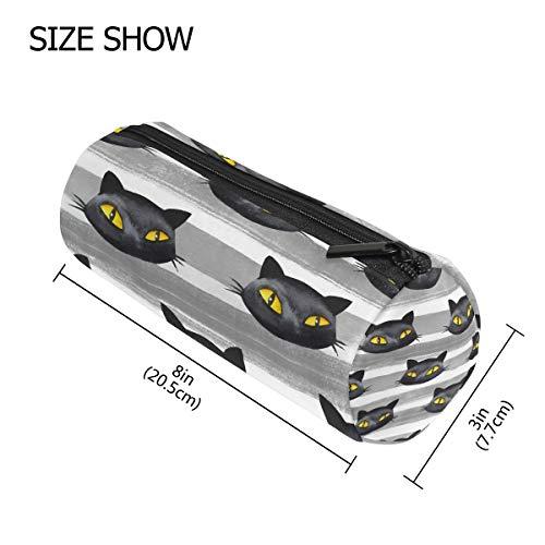 n Halloween schwarz Katze Tier tragbar Stifthalter Tasche Multifunktions Tasche Stift Reißverschluss Tasche Geldbörse für Schule Büro ()