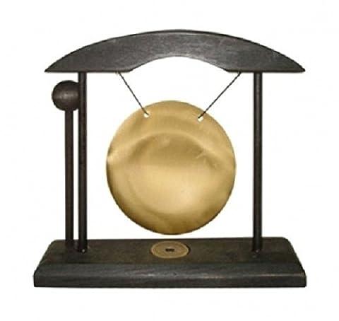 Trouver quelque chose différentes Table Gong décoratif en noir, support en bois, verre, multicolore, 8cm