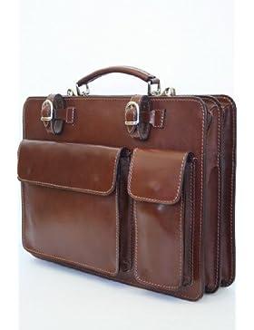 Leder Tasche Aktentasche Aktenkoffer braun Lehrertasche Business NL01HB von modamoda de