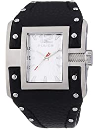 Police Avenger Men's Quartz Watch with White Dial Analogue Display and Black Leather Cuff 13401JS/04