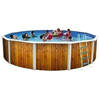 TOI - Piscina desmontable redonda decorada modelo veta + kit de verano y tapiz - 460x120