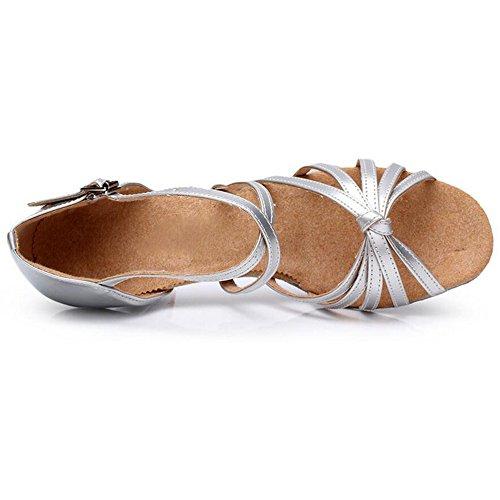 Eastlion Ballsaal Salsa Tango Schuhe Latin Dance Schuhe Tanz Sandalen für Frauen Praxis Silber