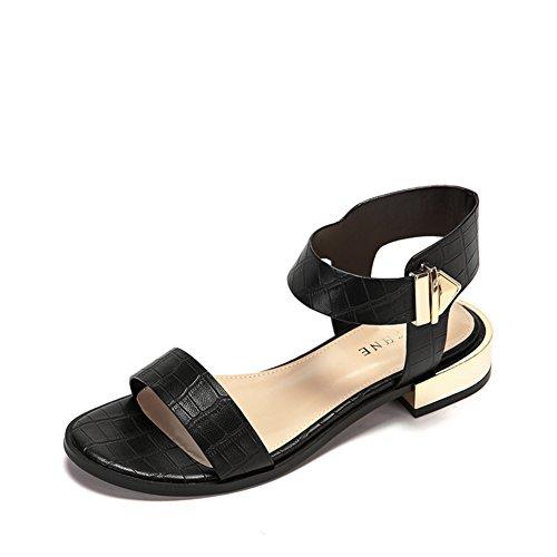 Casual Chaussures Bas Talons,Modèle Simple De Crocodile,Un Mot Avec Des Sandales De Boucle En Métal B