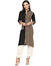 Indi Dori Women Cotton Zig Zag Printed Front Pocket Kurta