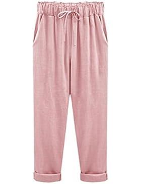 DAYLIN Mujer Verano Casual Pantalones de Lino Talla Grande Slim Elástico Pantalones, Color Sólido