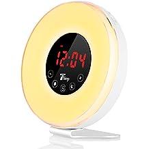 Thinp LED Despertador SimulaciónSunrise Wake-Up Light Digital de Mesa, Radio Reloj Despertador Alarma de Sonidos Naturales y Ajusatbles Multi Colores LED Lámpara de Mesa de Noche Imita Almanecer, Brillo Ajustable