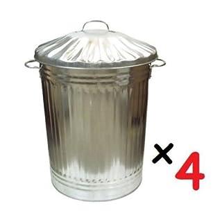 4 x Large 90L Litre Galvanised Steel Metal Bin - Ideal for Animal Feed/Storage / Rubbish/Dustbin