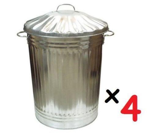 4 tamaño extra grande 90L litros papelera acero galvanizado - Ideal para la alimentación Animal/de almacenamiento/basura/cubo