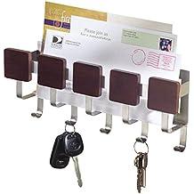 mDesign Organizador de llaves de acero inoxidable – Organizador de cartas de color wengué – Portallaves de pared para el recibidor o la cocina