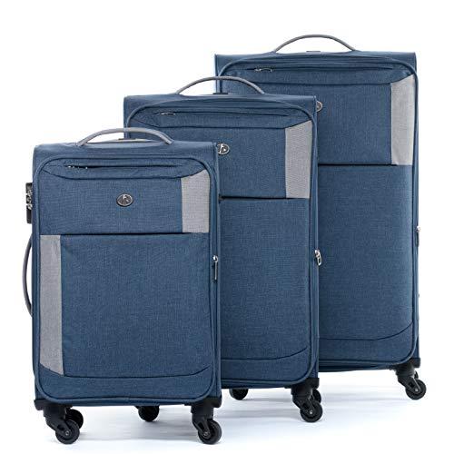 FERGÉ Kofferset Weichschale 3-teilig erweiterbar Saint-Tropez Trolley-Set - Handgepäck 55 cm L XL - 3er Stoffkoffer Roll-Koffer 4 Rollen Stretch-Flex grau