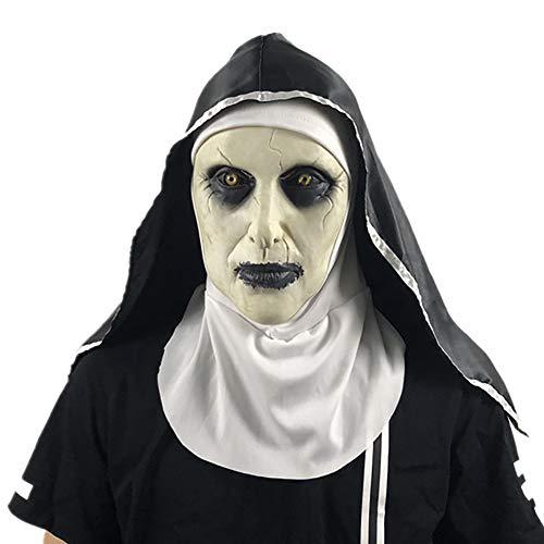 Nuns Mask Fancy Dress Masks for Adults,2019 Nonne Maske Mit Schleier Scary Zombie Face Shield (Nonne),B (Adult Masken Beängstigend)