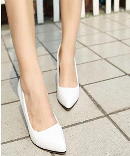 GS~LY Les chaussures de femmes talons hauts talons pointus légers White