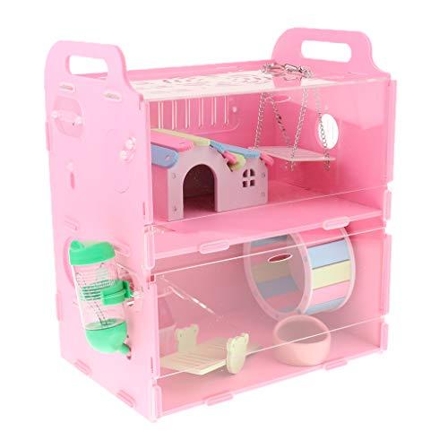 PETSOLA Casa Jaula Nido para Animales Pequeños Mascotas Hámster Erizo Guinea Pig Castillo Nido - Doble Capa Rosa