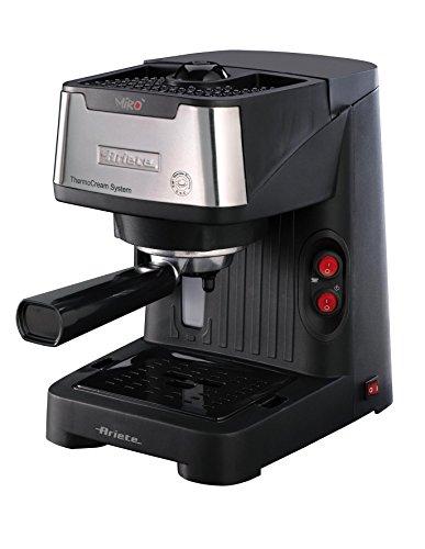 Ariete 1339 Mirò Macchina Caffè Espresso in Polvere e Cialda ESE, Dispositivo Maxi Cappuccino, Vassoio Raccogligocce, 850 W, Nero