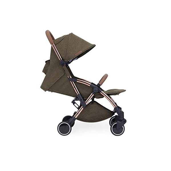 Ickle Bubba Globe Prime Baby Stroller | Lightweight and Portable Stroller Pushchair | Folds Slim for Ultra Compact Storage | UPF 50+ Extendable Hood and Baby Carriage Accessories | Khaki/Rose Gold Ickle Bubba ONE-HANDED 3 POSITION SEAT RECLINE: Luxury baby stroller suitable from birth to 15kg-approx. 3 years old; features luxury soft quilted seat liner, footmuff, cupholder, buggy organiser, storage bag and rain cover UPF 50+ RATED ADJUSTABLE HOOD: Includes a peekaboo window to keep an eye on the little one; extendable hood-UPF rated-to protect against the sun's harmful rays and inclement weather ULTRA COMPACT AND LIGHTWEIGHT: Easy to transport, aluminum frame is lightweight and portable-weighs only 6.4kg; folds compact for storage in small places-fits in aeroplane overhead; carry strap and leather shoulder pad included 3