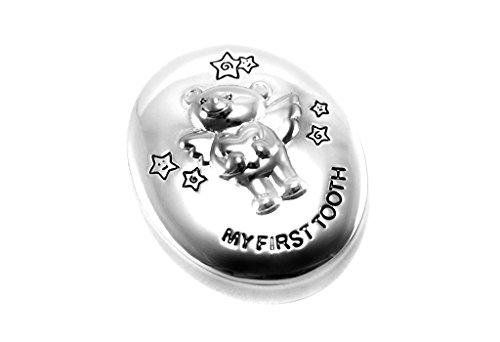 Brillibrum Design Zahndose Silber mit Gravur Milchzahndöschen Zahnbox My First Tooth zur Aufbewahrung der Milchzähne für Jungen & Mädchen