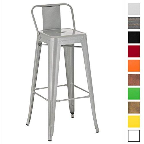 CLP Metall-Barhocker MASON mit Vierfußgestell und Lehne I Thekenhocker mit Fußstütze I Tresenhocker mit einer Sitzhöhe von 77 cm I In verschiedenen Farben erhältlich Silber