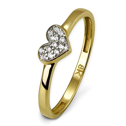 SilberDream Gold Ring 8 Karat Zirkonia weiß Herz Gr.60 333er Gelbgold D3GDR503Y60