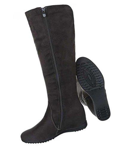 Damen Stiefel Schuhe Keil Wedges Schwarz Dunkelgrau
