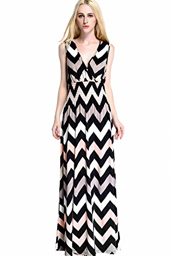 Womdee-Women-Casual-Striped-Deep-V-neck-Sleeveless-Elastic-Waist-Maxi-Dress