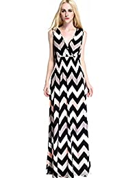Womdee Damen Streifen Muster V Ausschnitt Ärmellos Maxi Kleider