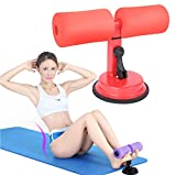 E-Bestar Verstellbarer Sit-Ups Gerät Trainingsbügel mit Saughaken Helper Pro Tool für Bodybuilding (Rot)
