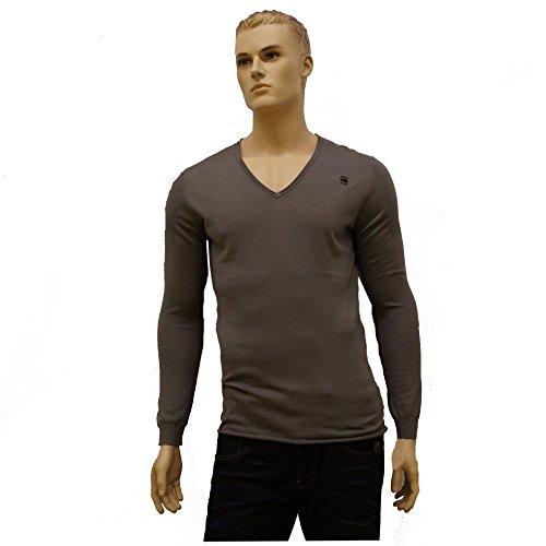 G-STAR felpa da uomo maglia maglione lavorato a maglia fine V-scollo a V maglia grigio Taglia M Meeflic, Grigio (grigio), xxl