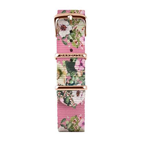 BARBOSA Cinturino Nato Rosa con Decorazione Floreale 14mm 14RN242