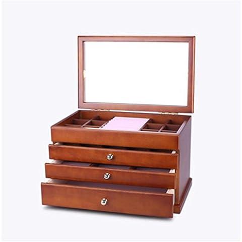 XYXY Solido legno contenitore di monili europeo retro dei monili del braccialetto della collana dei monili Storage Box